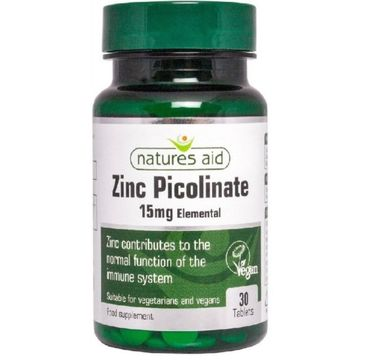 Natures Aid Zinc Picolinate 15mg suplement diety 30 tabletek