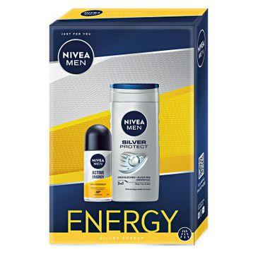 Nivea Men Zestaw prezentowy Energy deo roll-on Active Energy 50ml+żel pod prysznic Silver Protect 250ml (1 szt.)