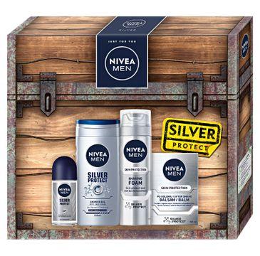 Nivea Men Zestaw prezentowy Silver Collection deo roll-on 50ml+żel pod prysznic250ml+pianka do golenia 200ml+balsam po goleniu 100ml (1 szt.)