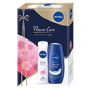 Nivea Zestaw prezentowy Flower Care żel pod prysznic Creme Care 250ml+dezodorant spray Rose Touch 150ml (1 szt.)