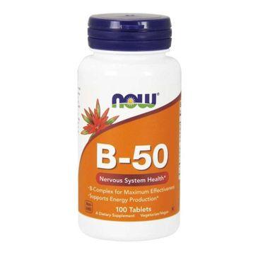 Now Foods B-50 Kompleks witamin B suplement diety 100 tabletek