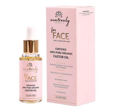 One&Only For Face Nails Lashes And Hair 100% Pure Organic Castor Oil serum z olejkiem rycynowym do twarzy paznokci rzęs i włosów 30ml