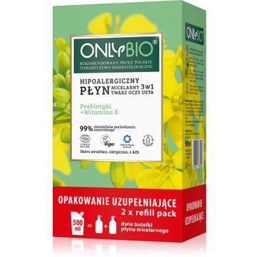 OnlyBio – Hipoalergiczny płyn micelarny 3w1 Priebiotyki i Witamina E 250mlx2 + Refill (500 ml)