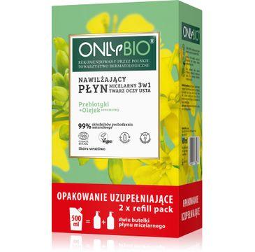 OnlyBio – Nawilżający płyn micelarny 3w1 Priebiotyki i Olejek Sezamowy 250mlx2 + Refill 500ml (1 szt.)