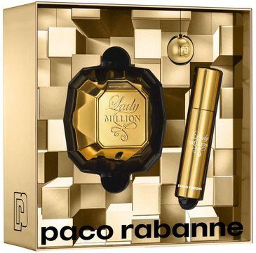 Paco Rabanne Lady Million zestaw woda perfumowana spray 50ml + woda perfumowana spray 10ml + breloczek (1 szt.)
