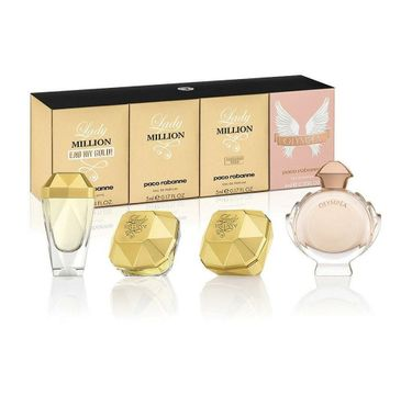 Paco Rabanne Special Travel Edition For Women zestaw Olympea 6ml + Lady Million Absolutely Gold 5ml + Lady Million 5ml + Lady Million Eau My Gold 7ml (1 szt.)