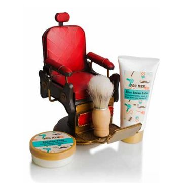 Pokhara – Vintage Barber Chair Shaving Gift For Men zestaw balsam po goleniu 150ml + mydło do golenia 50g + pędzel do golenia (1 szt.)