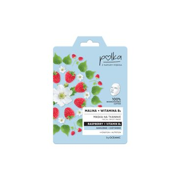 Polka – nawilżająca maska na tkaninie Malina + Witamina B3 (1 szt.)