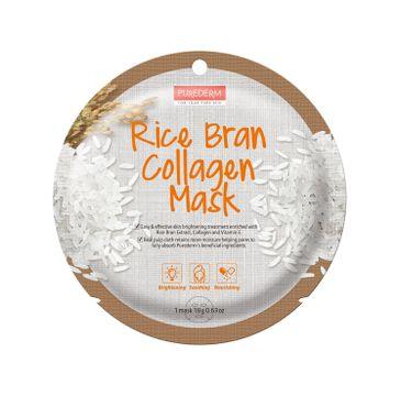 Purederm Rice Bran Collagen Mask maseczka kolagenowa w płacie Ryż (18 g)