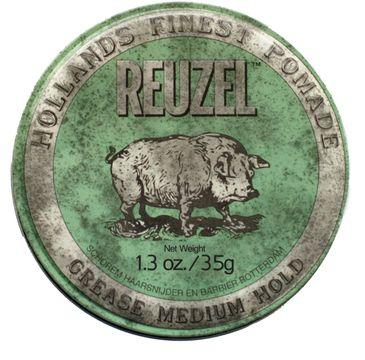 Reuzel Hollands Finest Pomade średnio utrwalająca pomada na bazie wosków i olejków Green 35g