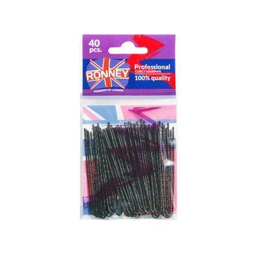 Ronney Professional Curly Slides karbowane kokówki do układania włosów Katja 070/40 Czarne (40 szt.)