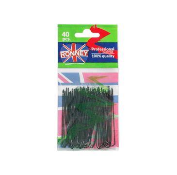 Ronney Professional Hair Slides kokówki fryzjerskie A065/40 Czarne (40 szt.)