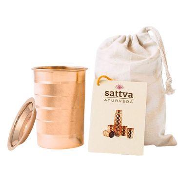Sattva Kubek miedziany w paski z pokrywką (350 ml)