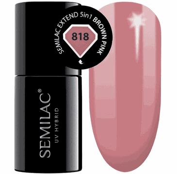 Semilac Base Extend 5w1 818 Brown Pink – lakier hybrydowy (7 ml)