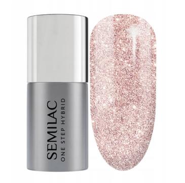Semilac – Lakier hybrydowy One Step Hybrid S245 Glitter Pink Beige (5 ml)