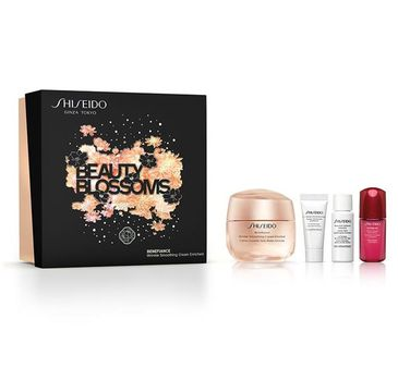 Shiseido Beauty Blossoms zestaw Benefiance Wrinkle Smoothing Enriched cream 50ml + Power Infusing 10ml + Treatment Softener Enriched 7ml + Clarifying Cleansing Foam 5ml (1 szt.)