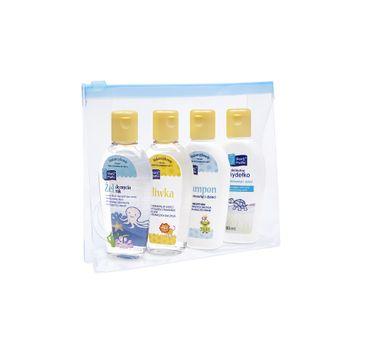 Skarb Matki zestaw prezentowy oliwka 80 ml + mydełko 80 ml + szampon 80 ml + żel do mycia rąk 80 ml + kosmetyczka