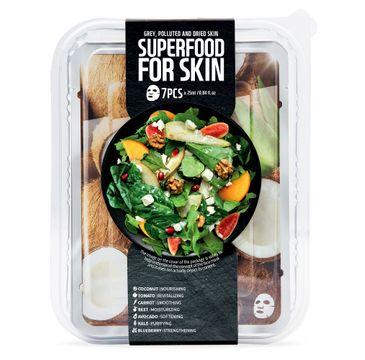 Superfood For Skin Grey Polluted And Dried Skin - energetyzująco-oczyszczające maski do skóry zanieczyszczonej i pozbawionej blasku 7x25 ml
