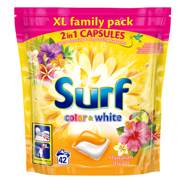 Surf Color & White Hawaiian Dream kapsułki do prania do bieli i koloru 42szt