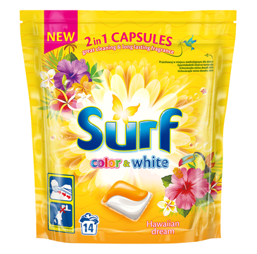 Surf Color & White kapsułki do prania 2in1 Hawaiian Dream 1 op. - 14 szt.