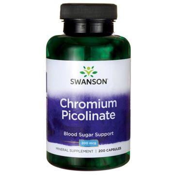 Swanson Chrom Pikolinian 200µg suplement diety 200 kapsułek