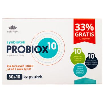 Tabfarm Probiox 10 Synbiotyk suplement diety 40 kapsułek