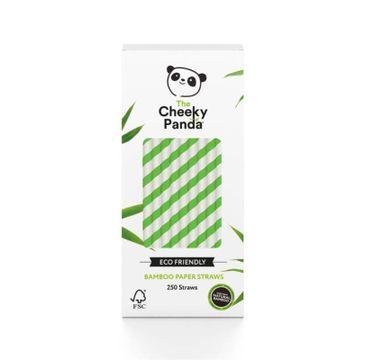 The Cheeky Panda– Bamboo Paper Straws bambusowe słomki jednorazowe zielone paski (250 szt.)