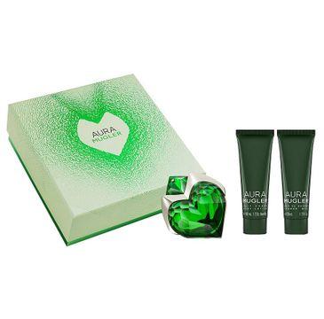 Thierry Mugler Aura zestaw prezentowy woda perfumowana refillable spray 30 ml + balsam do ciała 50 ml + mleczko pod prysznic 50 ml