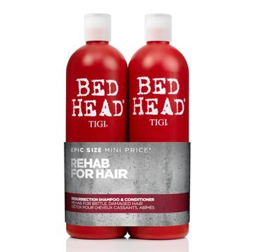 Tigi Rehab For Hear zestaw Bed Head Urban Antidotes Resurrection Shampoo szampon 750ml + Urban Bed Head Urban Antidotes Resurrection Conditioner odżywka 750 ml (1 szt.)