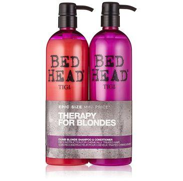 Tigi Therapy For Blondes zestaw Bed Head Dumb Blonde Shampoo szampon do włosów blond 750ml + Dumb Blonde Conditioner odżywka do włosów blond 750ml (1 szt.)