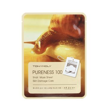 Tony Moly Pureness 100 Snail Mask Sheet Skin Irritation Care łagodząca maska do twarzy ze śluzem ślimaka 21ml