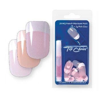 Top Choice French Manicure sztuczne paznokcie różowe (7866R) 1 op.