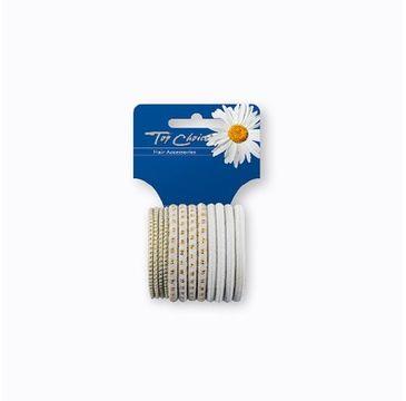 Top Choice White gumki do włosów zgrzewane (22456) 1 op. - 12 szt.