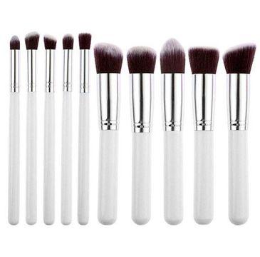 Trendy – Pędzle do makijażu biało-srebrne (10 szt.)
