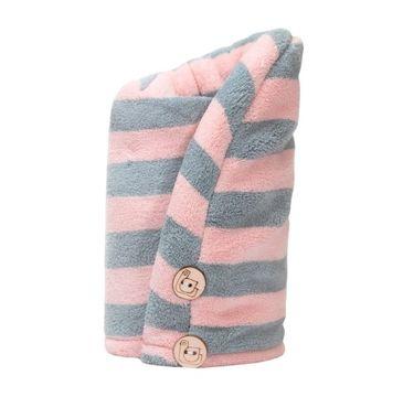 Trust My Sister Ręcznik do włosów z mikrofibry Różowo-Szary (1 szt.)