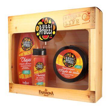 Tutti Frutti Brzoskwinia & Mango zestaw prezentowy olejek pod prysznic 425 ml + masło do ciała 200 ml + peeling 100 ml