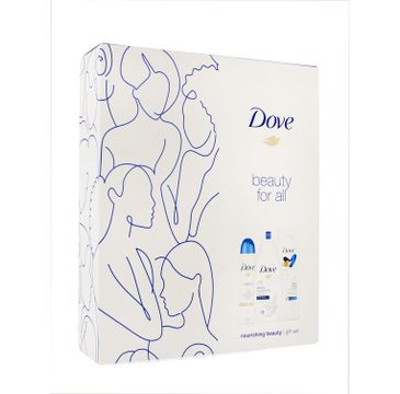 Dove Zestaw prezentowy Nourishing Beauty deo spray Original 150ml + żel pod prysznic Deeply 250ml+balsam do ciała Rich Care 250ml (1 szt.)