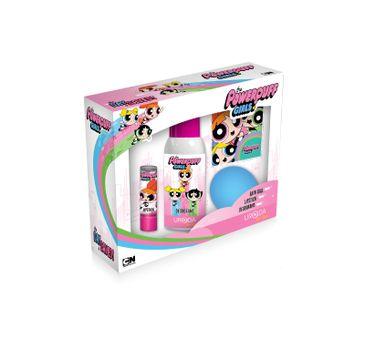 Uroda for Kids zestaw prezentowy Powerpuff Girls kula do kąpieli 100 g + pomadka + dezodorant 100 ml