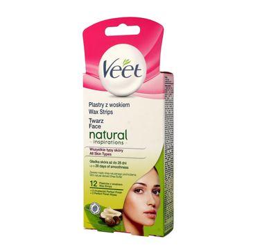 Veet Natural Inspirations plastry z woskiem do depilacji twarzy skóra każdego typu 1 op. - 12 szt.