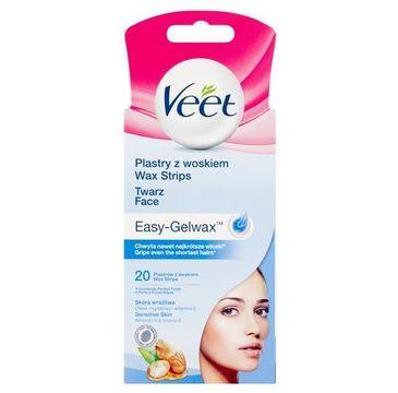Veet Plastry z woskiem do depilacji twarzy dla skóry wrażliwej 20szt