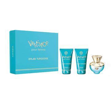 Versace Pour Femme Dylan Turquoise zestaw woda toaletowa spray 50ml + żel pod prysznic 50ml + żel do ciała 50ml (1 szt.)