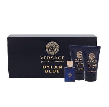 Versace – Pour Homme Dylan Blue zestaw miniatura wody toaletowej 5ml + balsam po goleniu 25ml + żel pod prysznic 25ml (1 szt.)