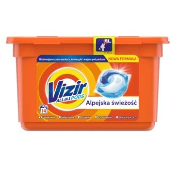 Vizir Alpine Fresh kapsułki do prania białych i kolorowych tkanin (14 prań)