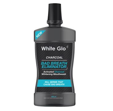 White Glo Charcoal Bad Breath Eliminator - płyn do płukania jamy ustnej z aktywnym węglem 500 ml