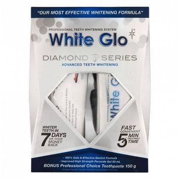 White Glo – Diamond Series System zestaw wybielająca pasta do zębów 100ml + wybielający żel do zębów 50ml +  nakładka na zęby (1 szt.)