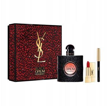 Yves Saint Laurent – Black Opium Pour Femme zestaw woda perfumowana spray 50ml + Mini Rouge Pur Couture pomadka do ust 01 + Eye Pencil kredka do oczu N1 (1 szt.)