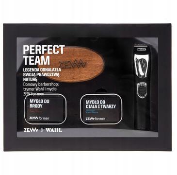 Zew For Men Perfect Team zestaw trymer Wahl Lithium Ion + mydło do brody 85ml + mydło do twarzy i ciała 85ml + szczotka do brody