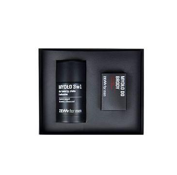 Zew For Men Zestaw Komplet Brodacza mydło do brody 85ml + mydło 3w1 do twarzy, ciała i włosów 85ml