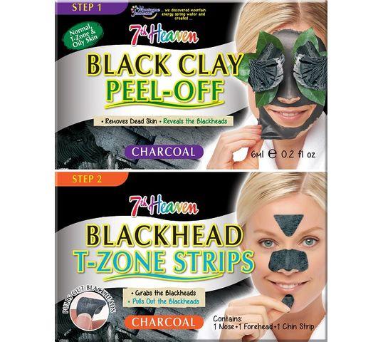 7th Heaven – Charcoal Duo Black Clay Peel-Off węglowa maseczka do twarzy 6ml + Blackhead T-Zone Strips paski niwelujące zaskórniki (3 szt.)