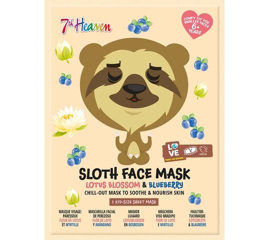 7th Heaven Sloth Face Mask łagodząco-odżywcza maseczka w płachcie do twarzy Lotus Blossom & Bluberry (1 szt.)